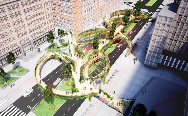 Hangt er over vijf jaar een groene brug boven de Wibautstraat?