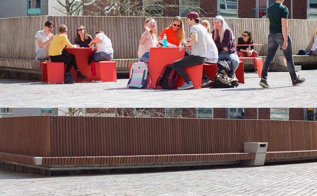 Lenteweer op de campus – met en zonder chillende studenten